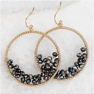 Jewelry - Gunmetal beaded hoop earrings